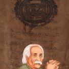 Albert Einstein Painting Handmade Indian Miniature Old Stamp Paper Portrait Art