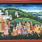 Maharajah Rajasthan Procession Painting Handmade Indian Royal Ethnic Folk Art