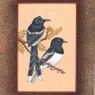 Indian Bird Miniature Art Handmade Watercolor Ethnic Folk Feather Pair Painting
