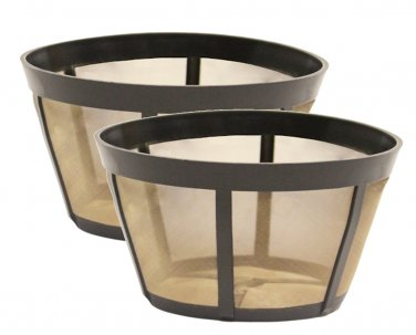2 Pack GoldTone TM Permanent Reusable Basket Coffee Filter, Fits BUNN* Coffee Makers
