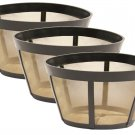 3 Pack GoldTone TM Permanent Reusable Basket Coffee Filter, Fits BUNN* Coffee Makers