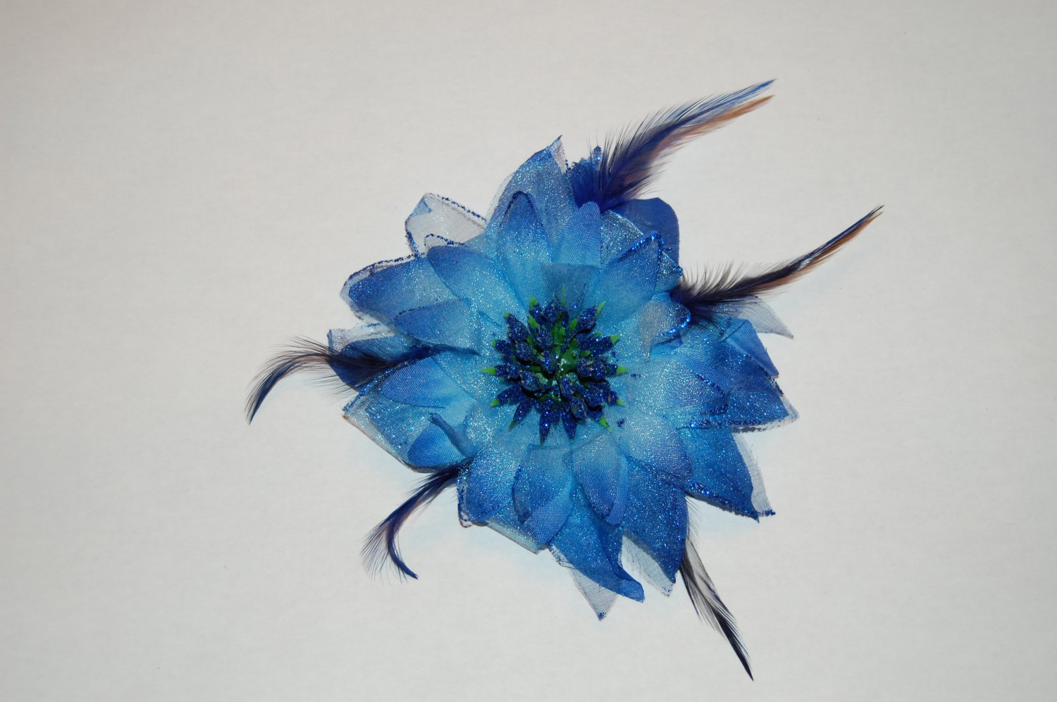 "5"" Royal Blue Glitter Feather Flower with Berries Clip & Hair Tie"