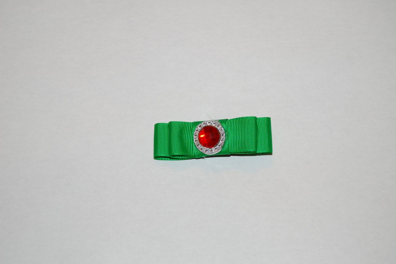 Green Ribbon Hair Clip with Gemstone Center, Hair Clip