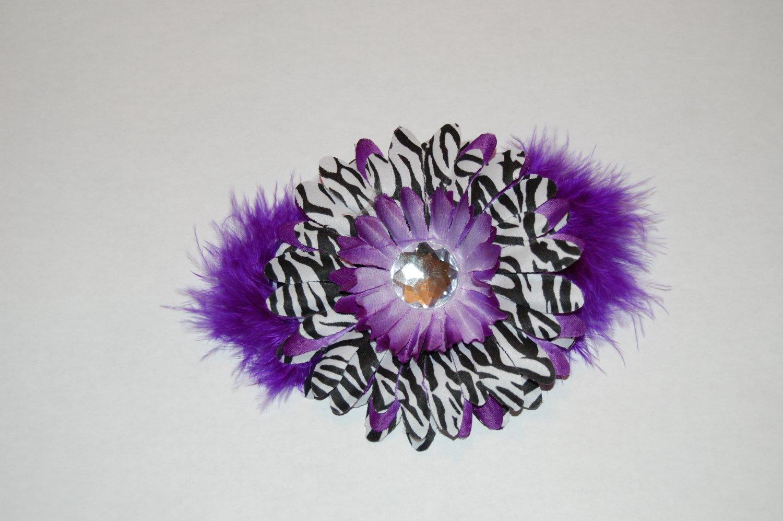 Purple Zebra Hair Clip with marabou Clip