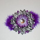 Purple Zebra Hair Clip with marabou Clip