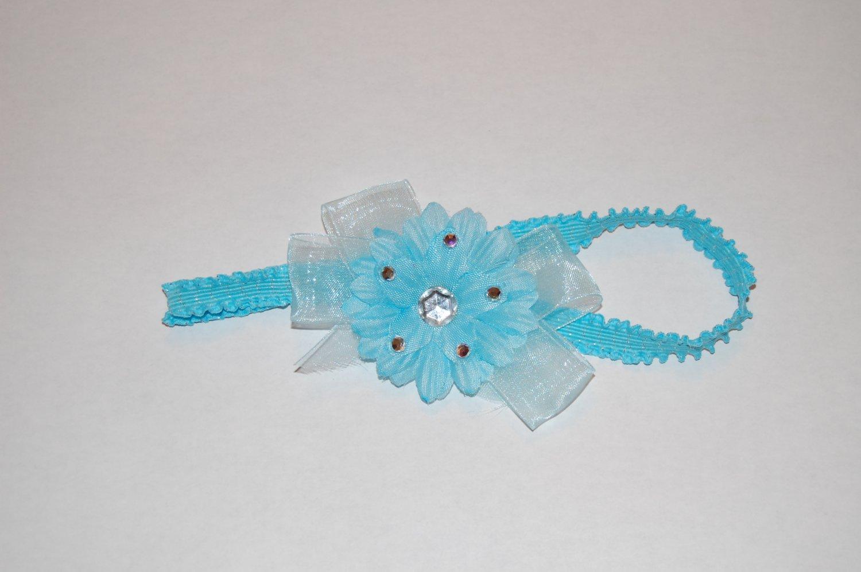 """2"""" Daisy, Jewel Embellished, Chiffon Ribbon, 1"""" Lace band, Blue/Blue"""