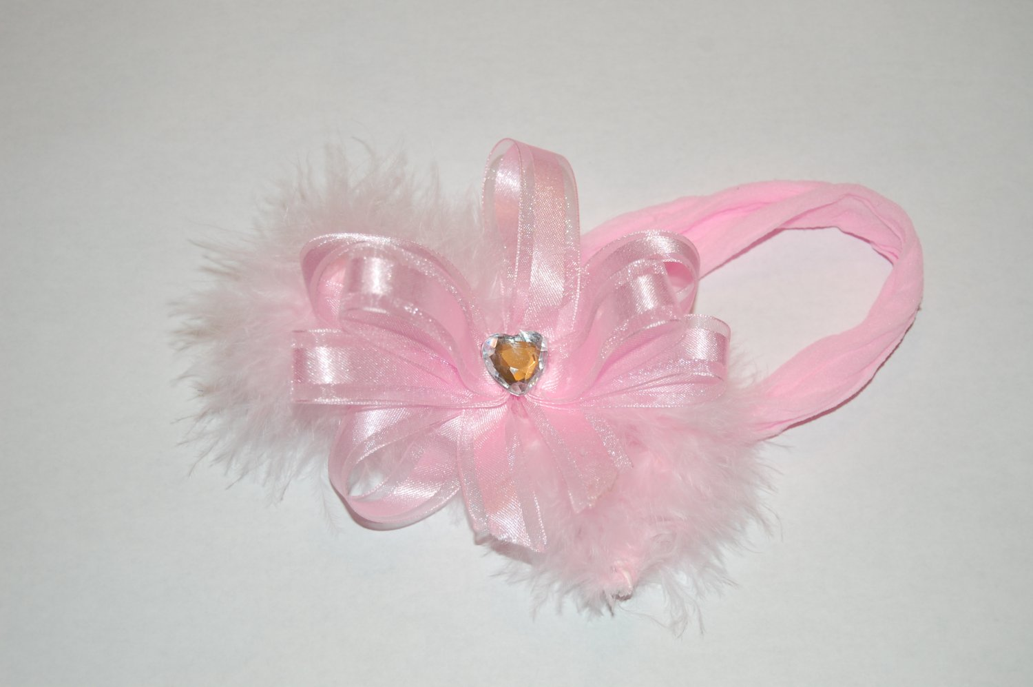 """2"""" Pink Boutique Bow with Feather, Gemstone Center Clip with free interchangeable headband."""