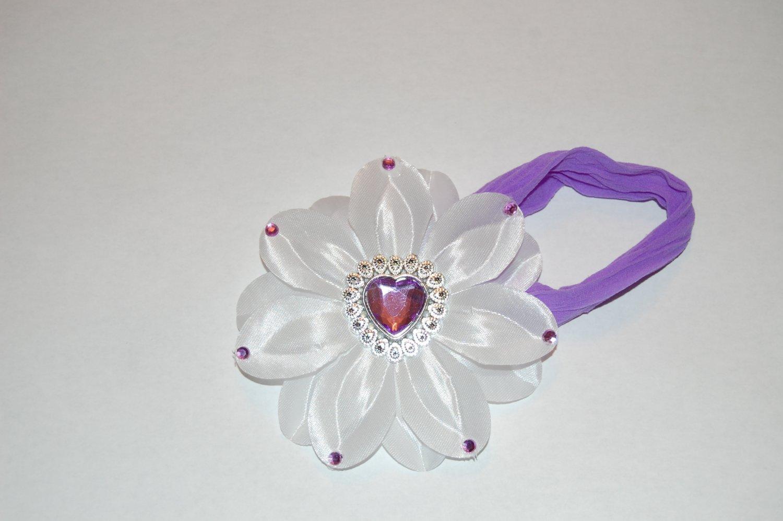 "4"" Lilly - Jeweled - Medallion Heart Center - White/Lavender Clip"