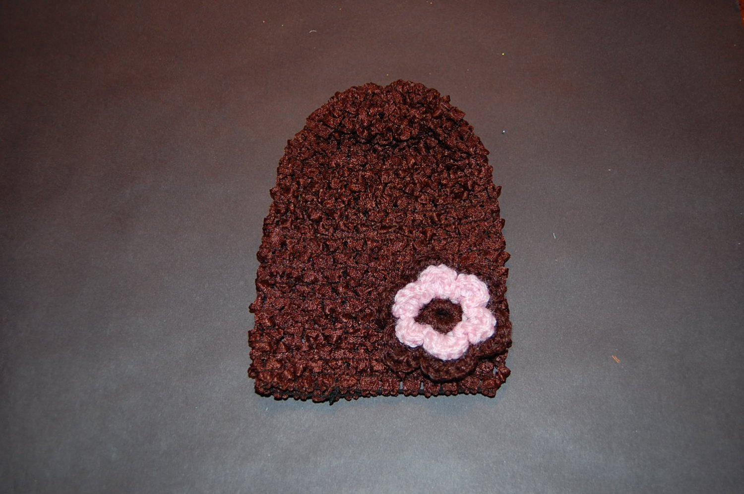 Crocheted Brown Hat with Small Crocheted Pink/Brown Flower