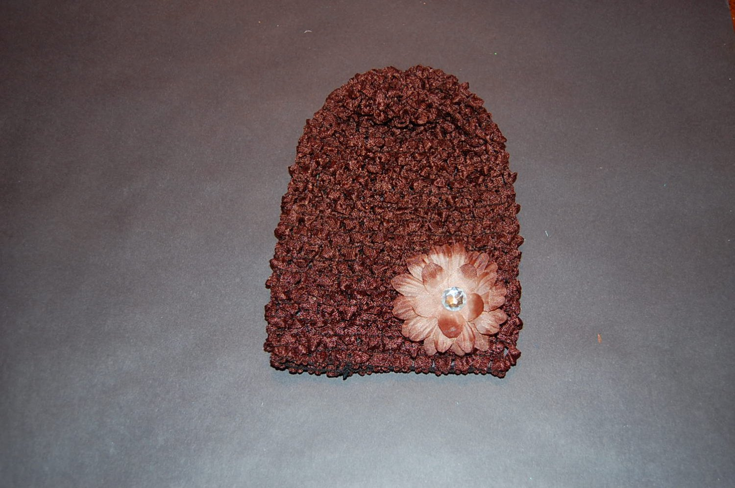 "Crocheted Brown Hat with 2""Brown Daisy"