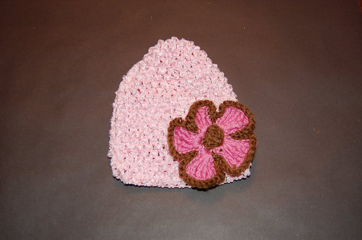 Crocheted Pink Hat with Large Pink/Brown Flower