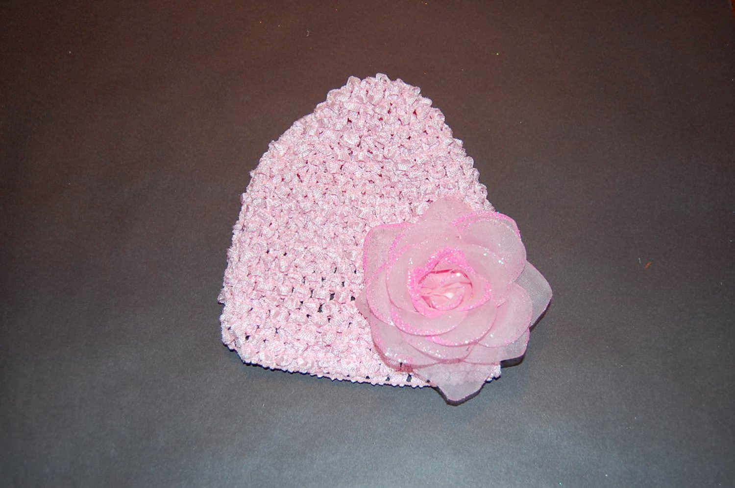 Crocheted Pink Hat with Ice Glitter Rose