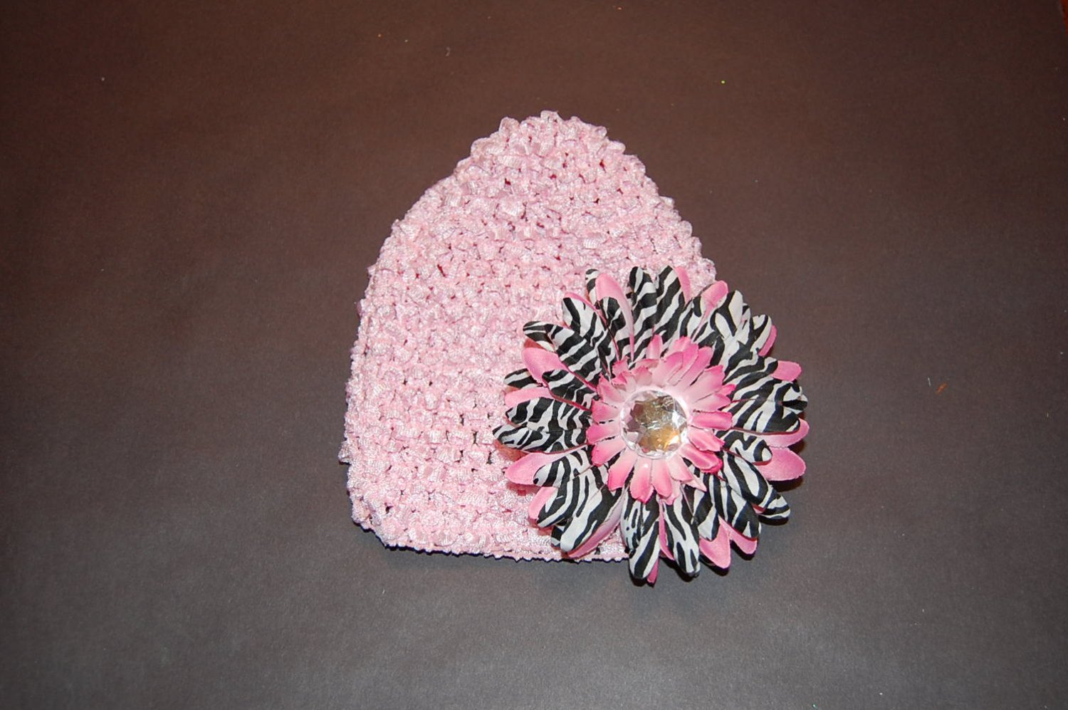 Crocheted Pink Hat with Pink Stacked Zebra Daisy
