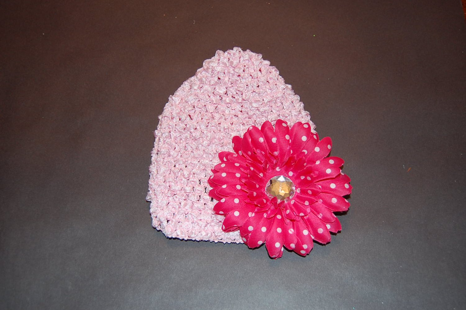 """Crocheted Pink Hat with 4""""Red Fluffy Daisy"""