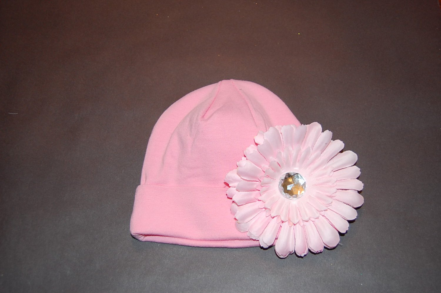 """Cotton Pink Hat with 4"""" Pink Flat Daisy"""