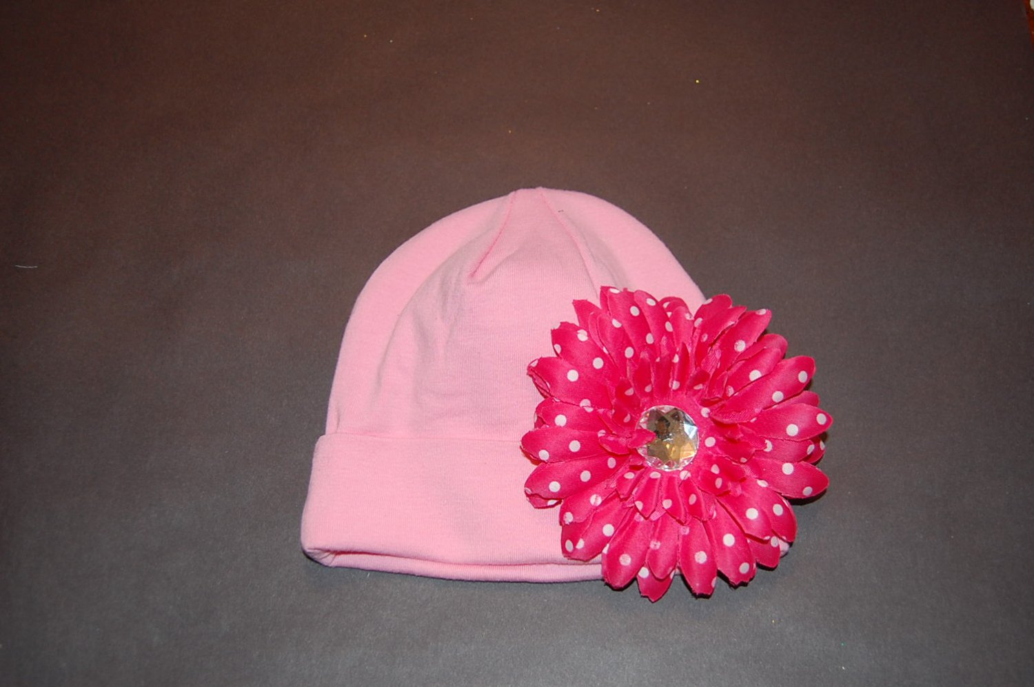 "Cotton Pink Hat with 4"" Pink Polka Dot Fluffy Daisy"