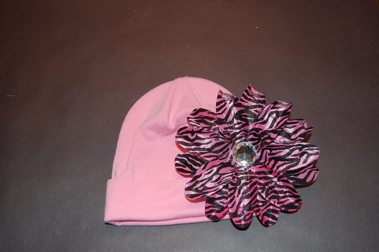 """Cotton Pink Hat with 4 1/2"""" Pink/Black Zebra Tropical Lilly"""
