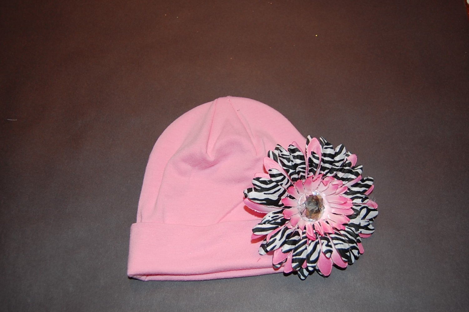 Cotton Pink Hat with Pink Stacked Zebra Daisy