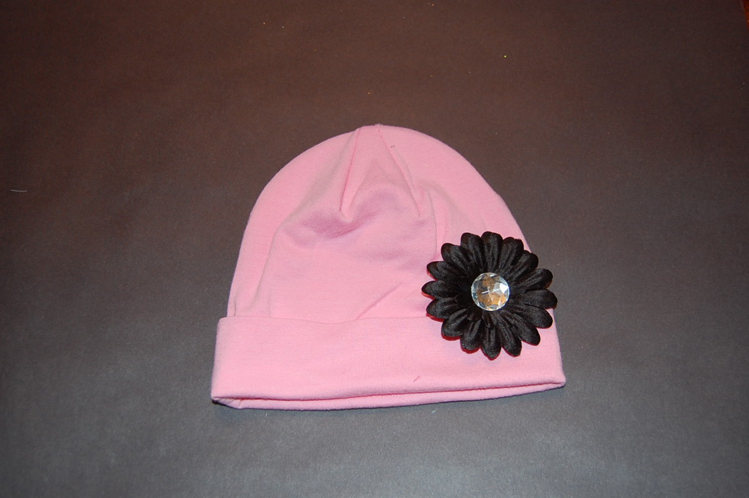 "Cotton Pink Hat with 2"" Black Daisy"