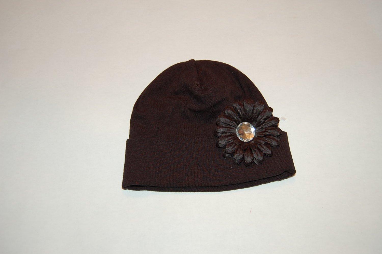 "Cotton Black Hat with 2"" Black Daisy"