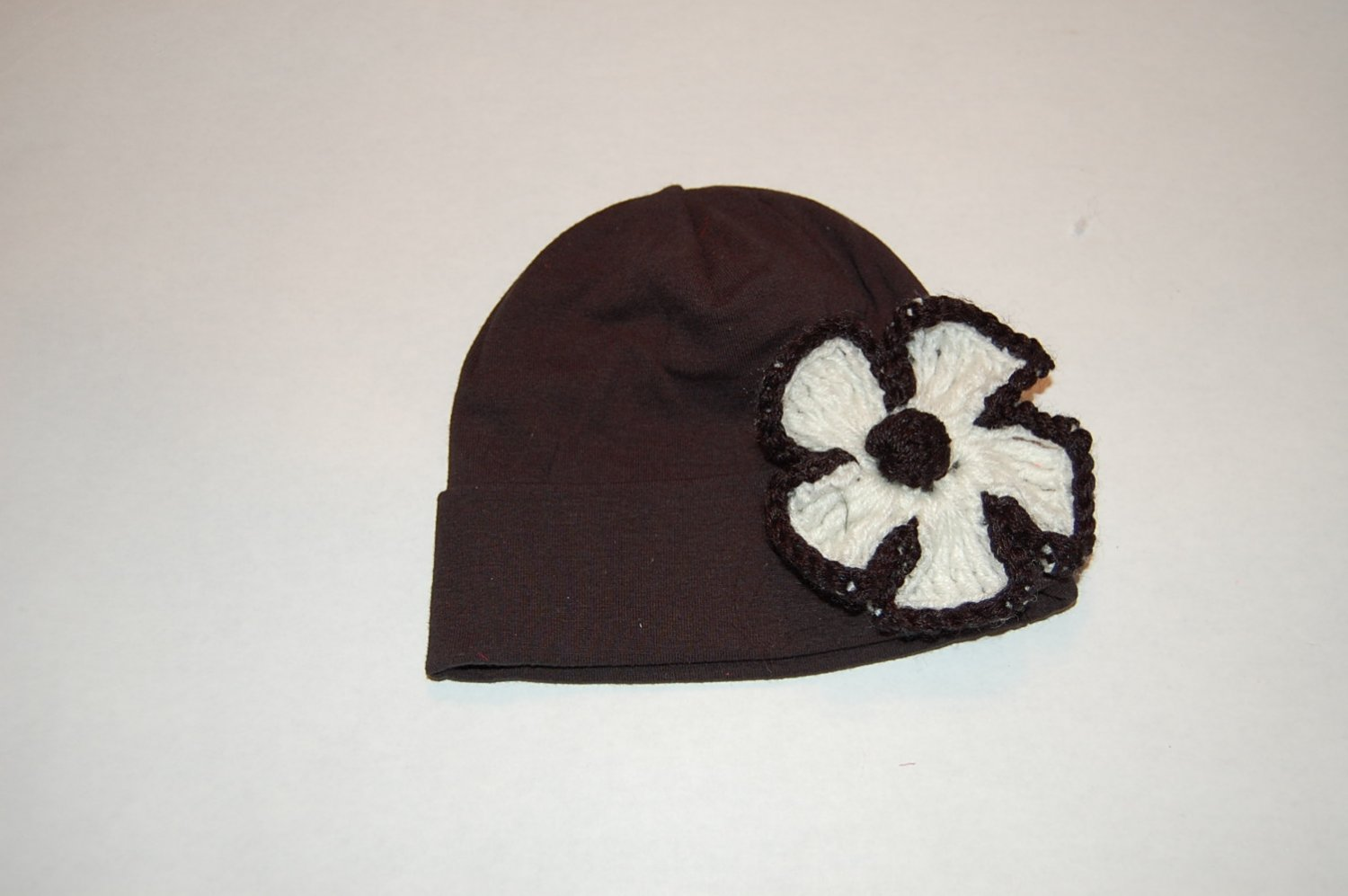 Cotton Black Hat with Crocheted Black/White Flower