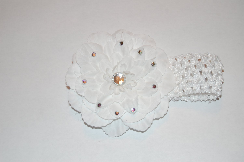 """4"""" Peony, Jewel Embellished, Crocheted Headband, White/White"""