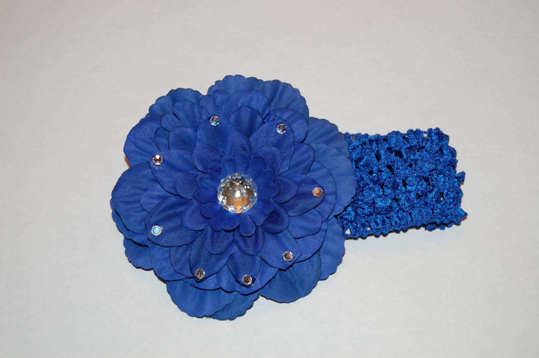 "4""  Peony ,Jewel Embellished, Crocheted Headband Royal Blue/Royal Blue"