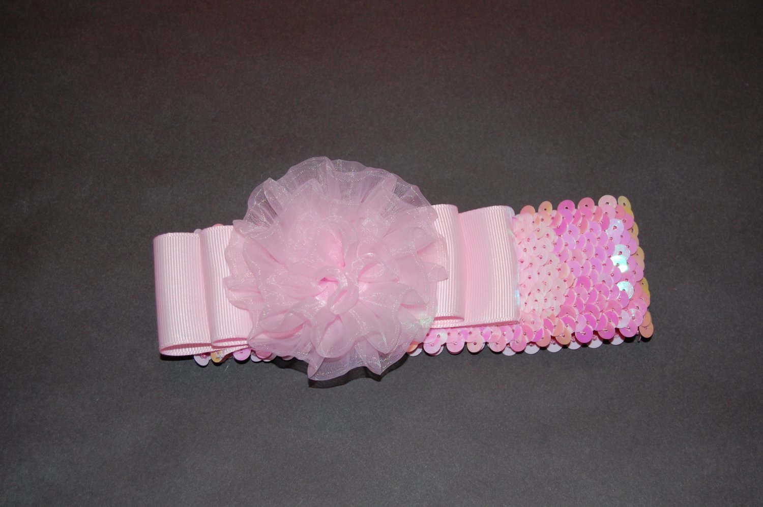 Pink Sequined Headband with Chiffon Rosette & Ribbon