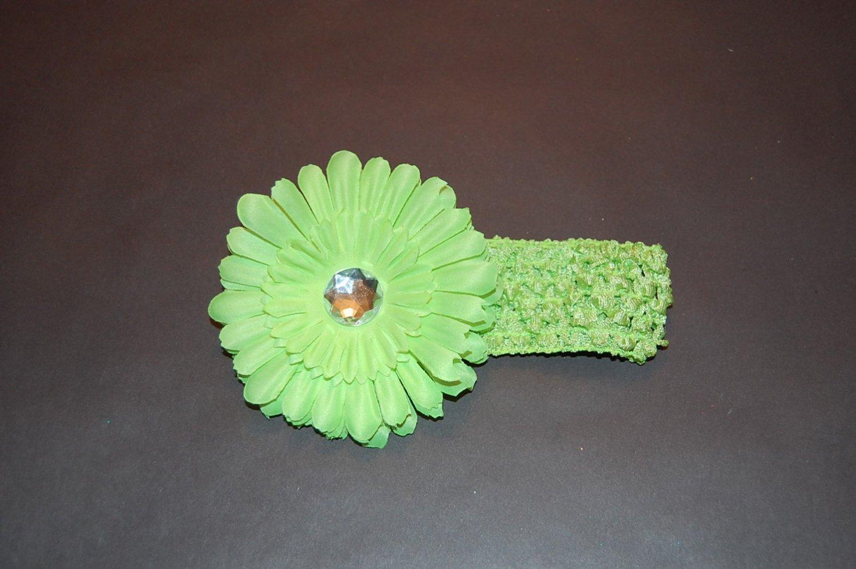 """Acid Green Crocheted Headband with 4"""" Acid Green Daisy"""