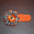 "Orange Crocheted Headband with 4"" Orange Stacked Zebra Daisy"