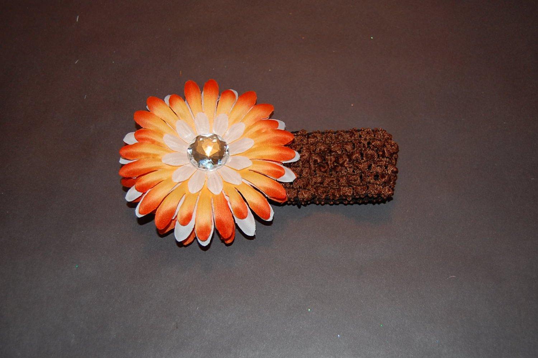 "Brown Crocheted Headband with 4"" Sunshine Mix Daisy"