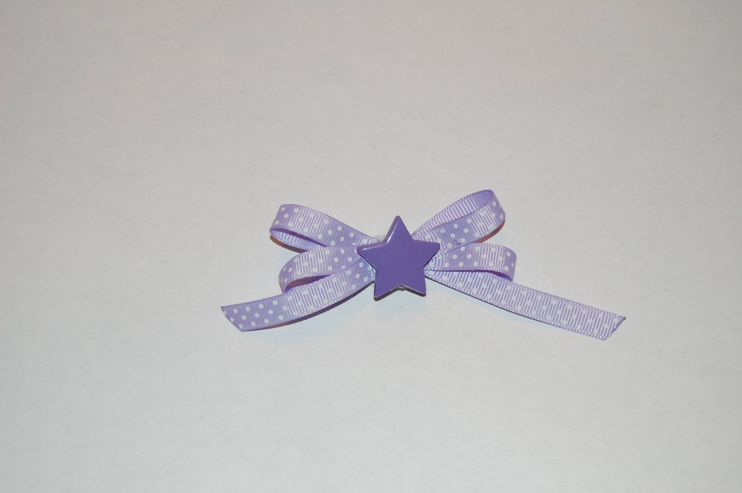 "5/8"" Crossgrain Lavender Ribbon Dots with Start center Clip"