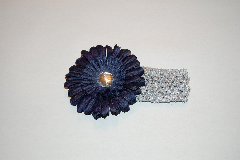 """4.5"""" Daisy, Crocheted Headband -Navy/Silver"""