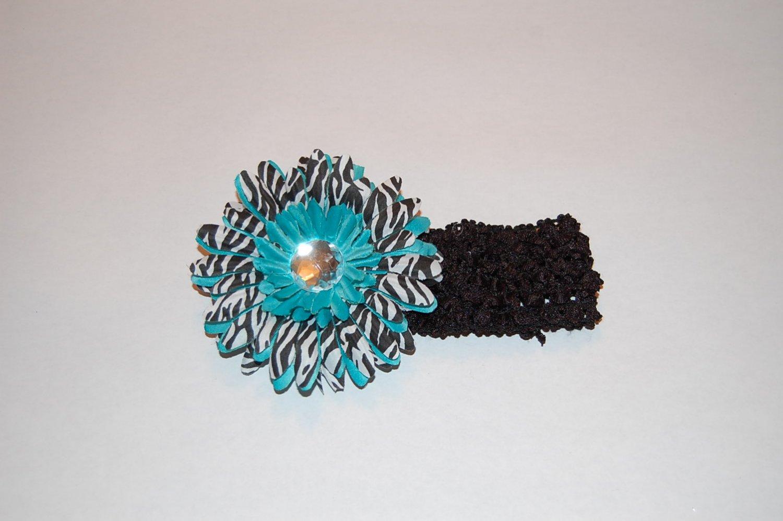 """4"""" Zebra Stacked Daisy, 2"""" Crocheted Headband-Black"""