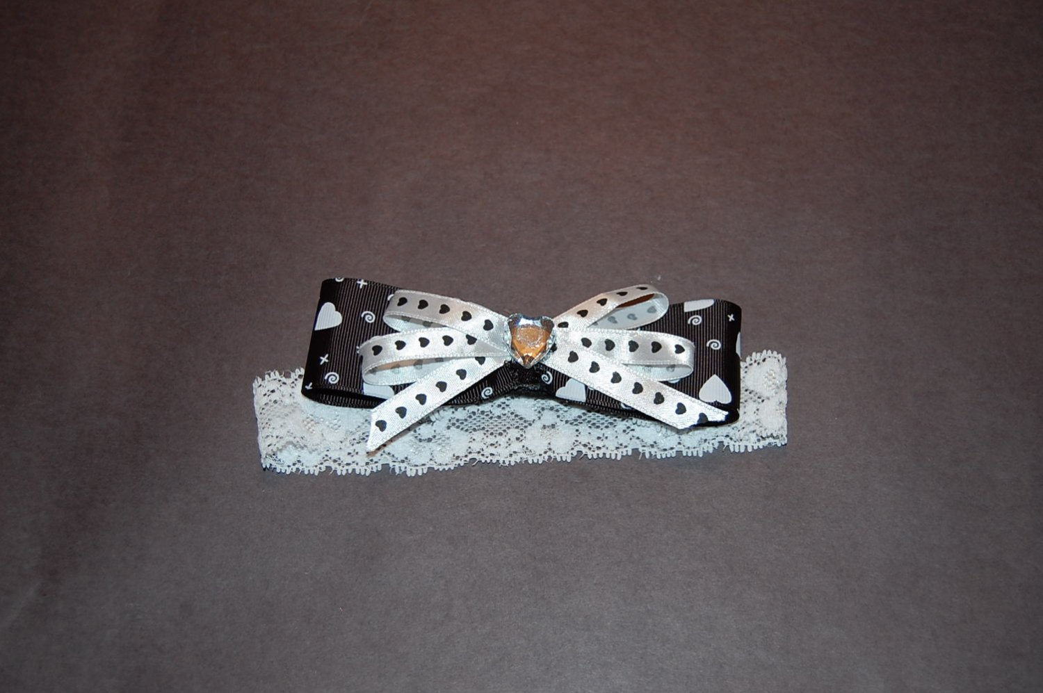Heart Imprinted Layered Ribbon On Lace headband