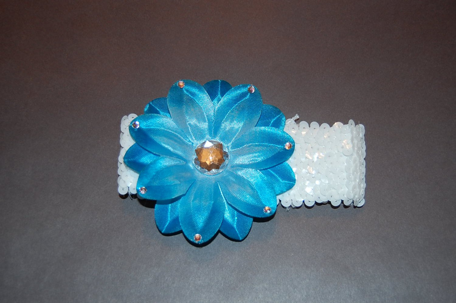 "4"" Tropical Lilly with Embellishment, 2"" Sequined Headband- Aqua Blue/White"