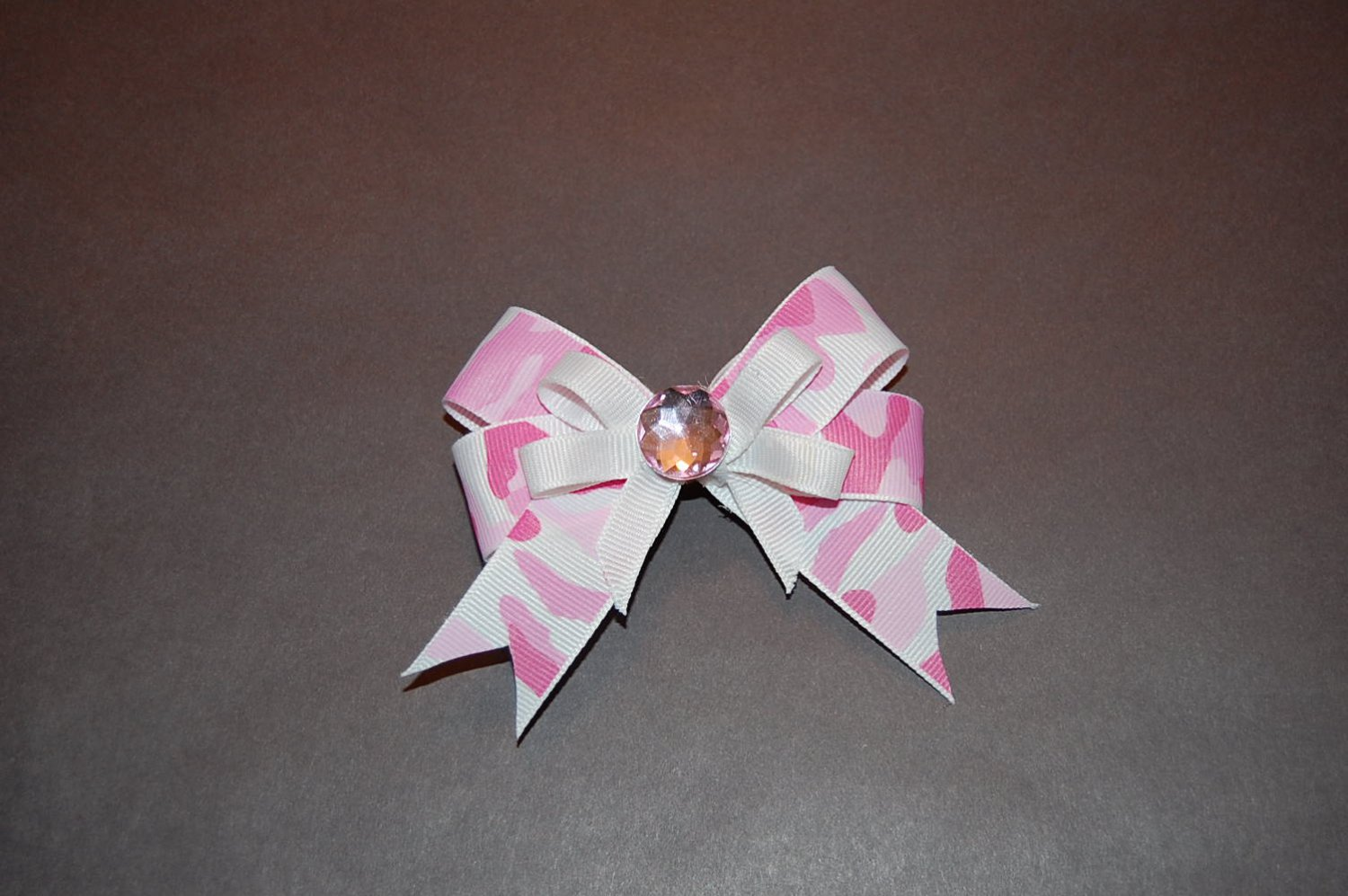 Layered CamouflagePrint Bow- Zebra/Pink