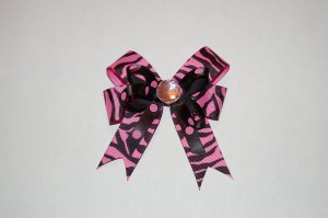 Layered Animal Print Bow with Spikes-Pink Zebra/Pink Polka Dot