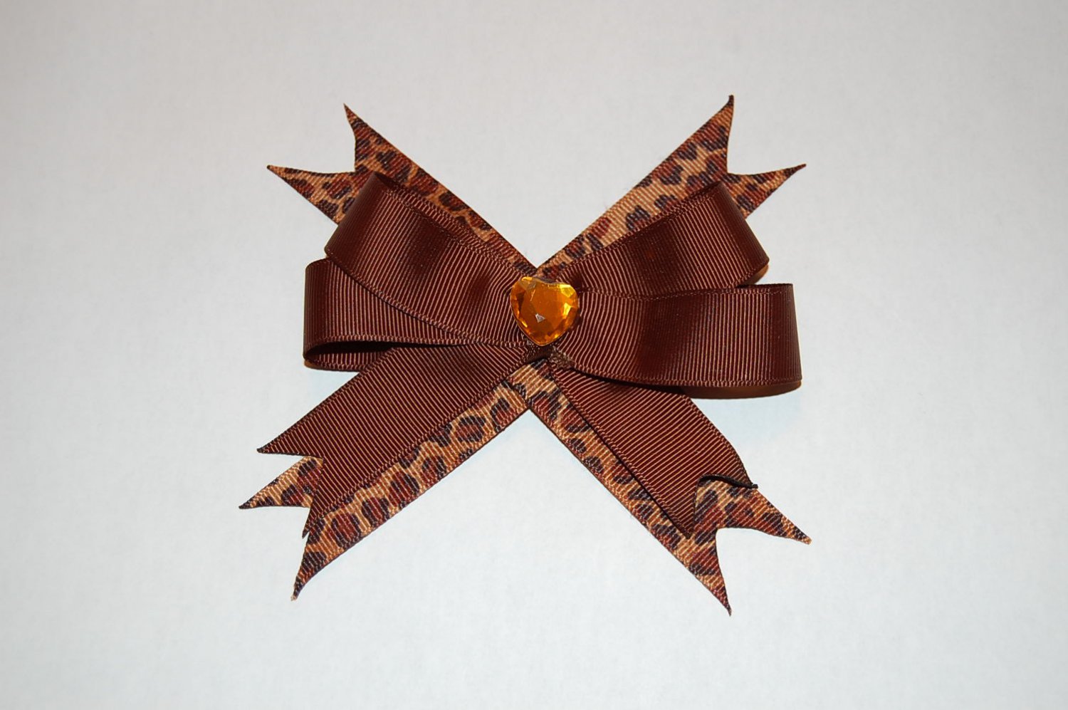 Layered Animal Bow with Spikes-Leopard/Brown