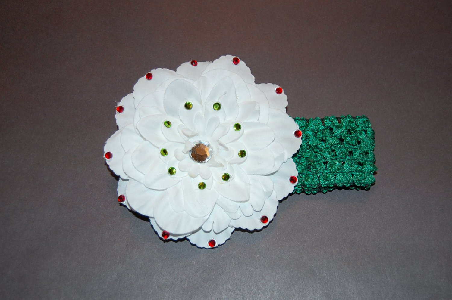 "4"" Peony with Embellishments on Crocheted Headband-White/ Green"