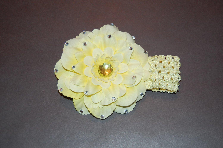 """4.5"""" Peony with Embellishments, Crocheted Headband-Yellow"""