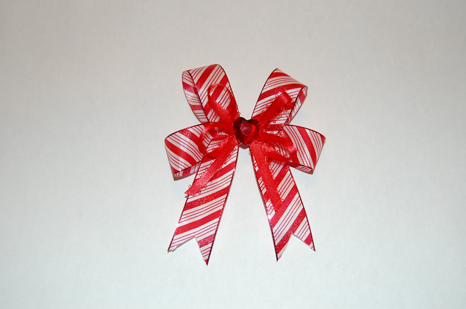 Layered Bow Striped, Red/White, Jewel Center Hair Clip
