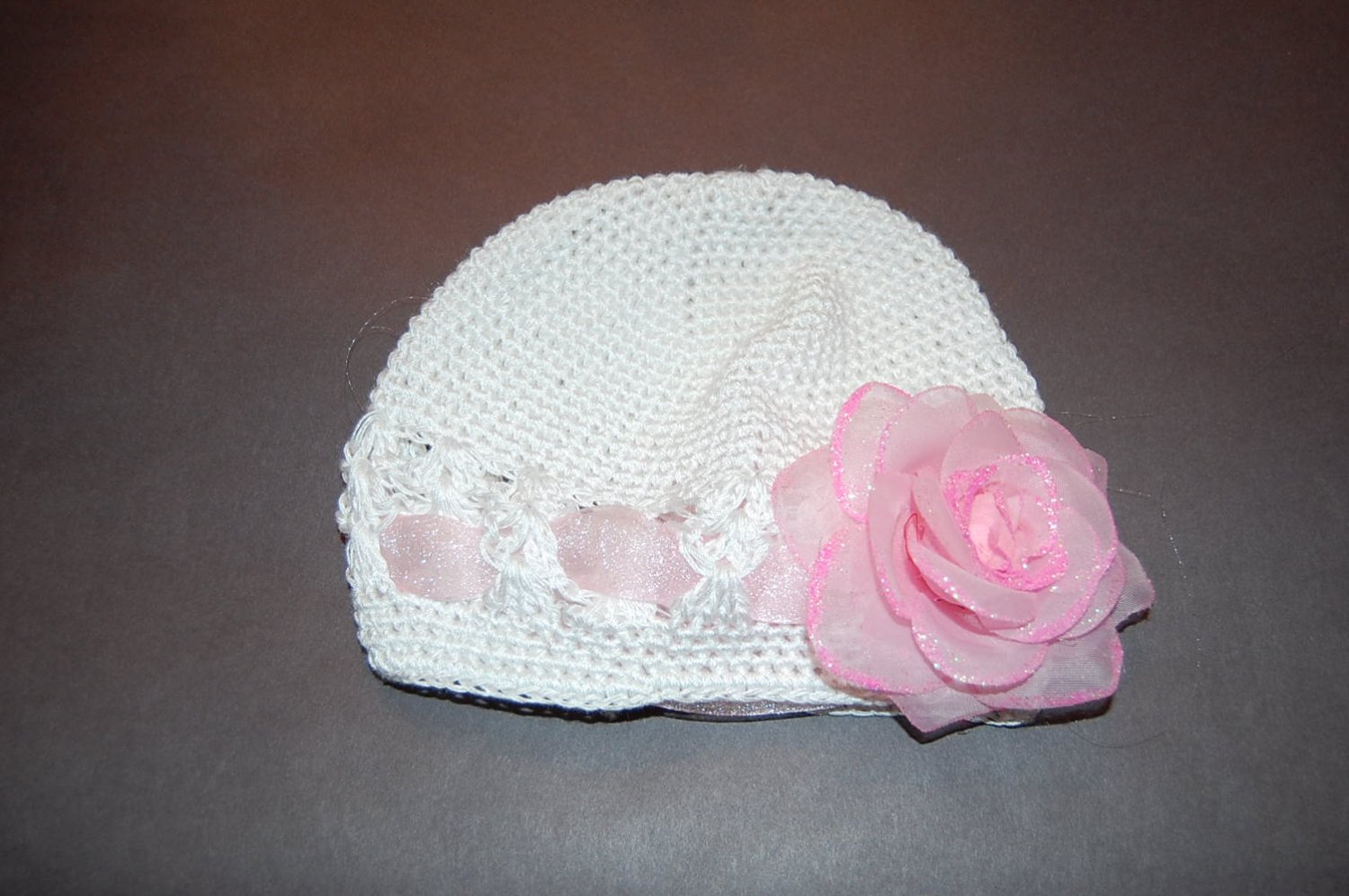 Crocheted Kufi Hat,White, Pink Tulle Ribbon Accent, Pink Glitter Rose . Sizes NB, SM, MED, LGE