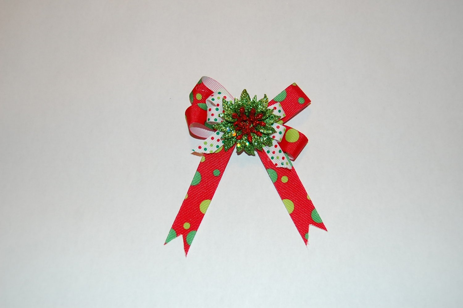 Boutique Layered Bow, Red Print/Pattern, Floral Center, Hair Clip
