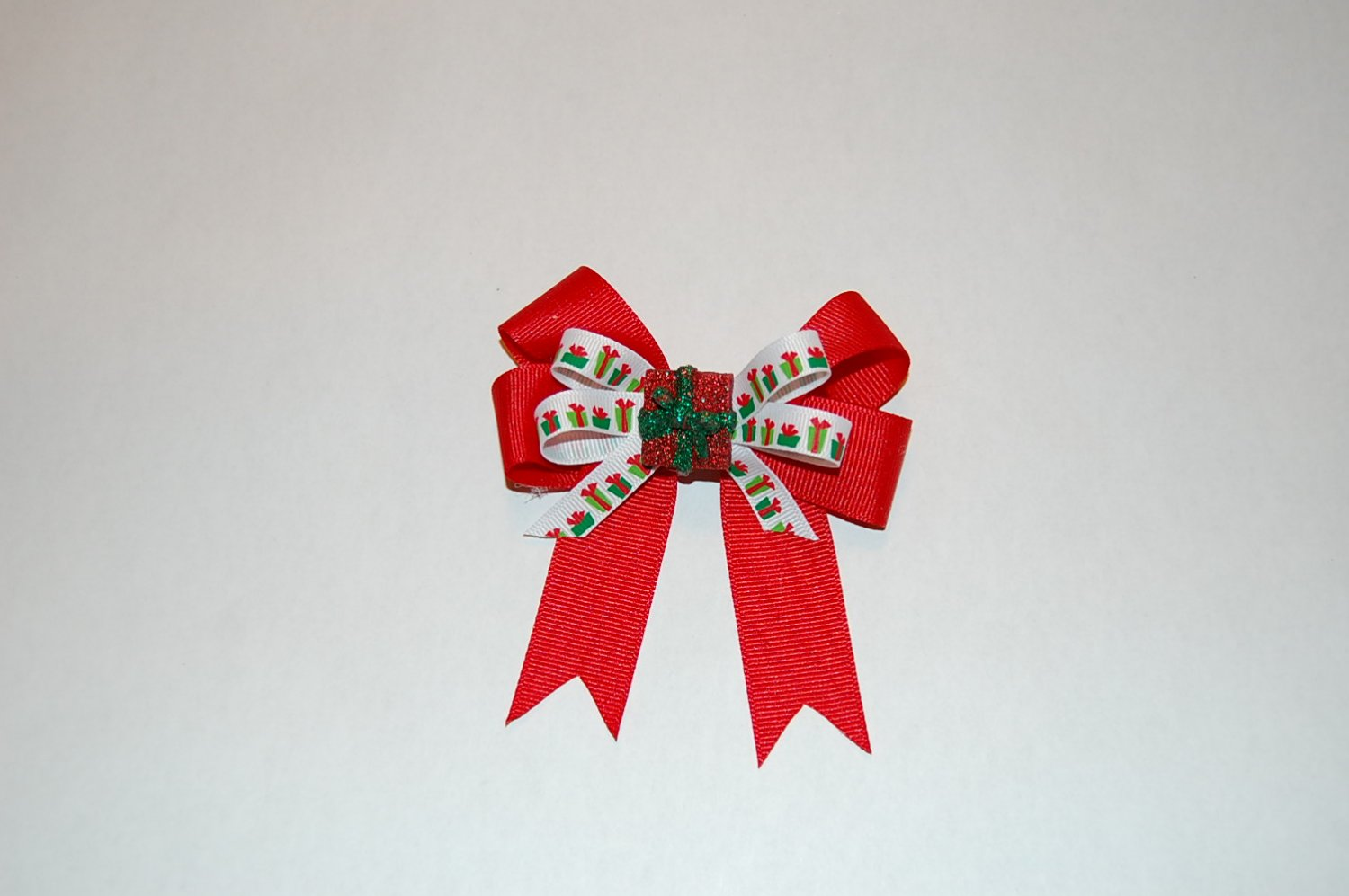 Boutique Layered Bow, Red/Print with Ceramic Accent,