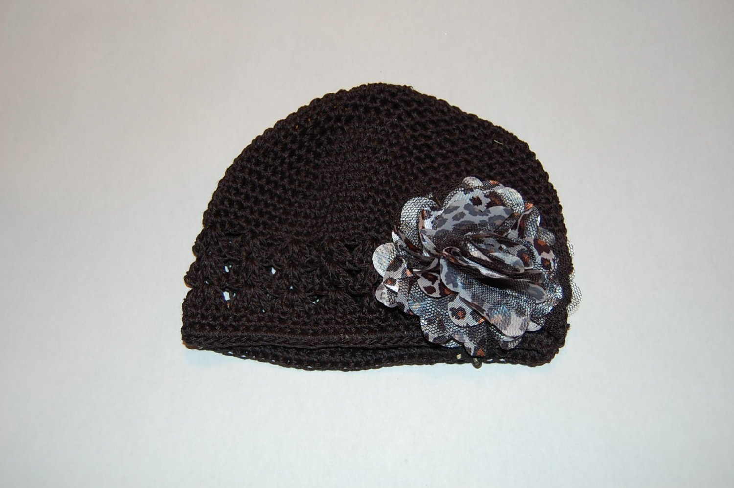 Crocheted Kufi Hat, Black,Satin Mesh Flower Leopaard,Ribbon & Maribou Accent. Sizes NB, SM, MED, LGE