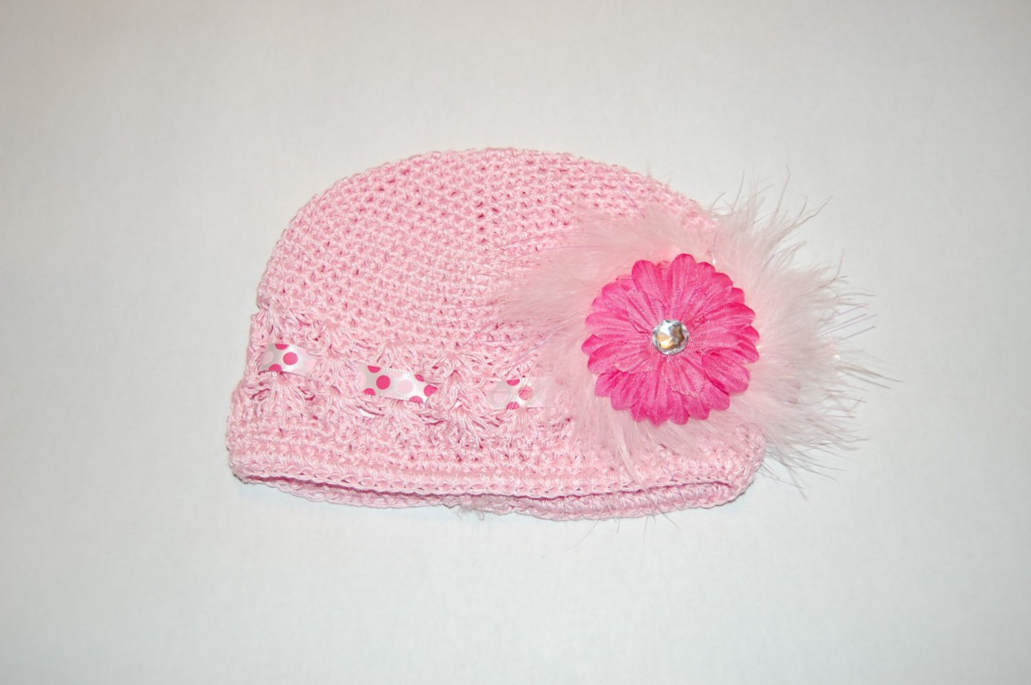 Crocheted Kufi Hat, Pink, 2' Pink Daisy,Ribbon &White Maribou Accent. Sizes NB, SM, MED, LGE
