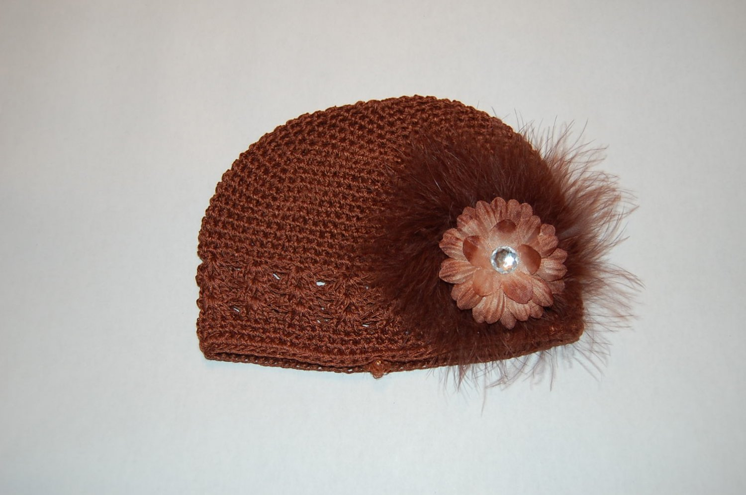 Crocheted Kufi Hat, Brown, 2' Brown Daisy, Maribou Accent. Sizes NB, SM, MED, LGE !