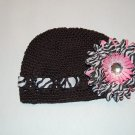 Crocheted Kufi Hat, Black, Zebra Ribbon Accent,Pink Zebra Daisy . Sizes NB, SM, MED, LGE !
