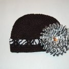 Crocheted Kufi Hat, Black, Zebra Ribbon Accent,  Zebra Daisy . Sizes NB, SM, MED, LGE !